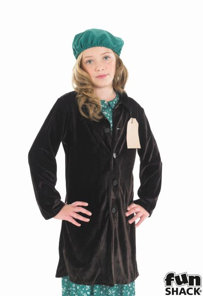 Evacuees School Girl Fancy Dress Costume