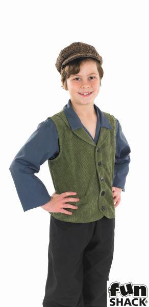 Boys Victorian Urchin Costume Kids School Boy Fancy Dress Story Outfit