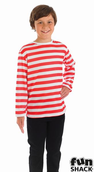 Kids Wheres My Red & White Striped Top Boys Book Week Fancy Dress Costume Outfit