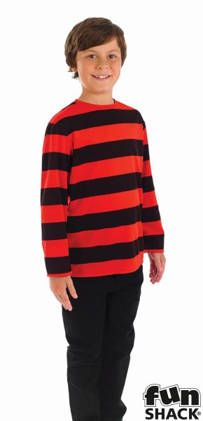 Kids Little Menace Red & Black Striped Top Boys Book Week Fancy Dress Costume