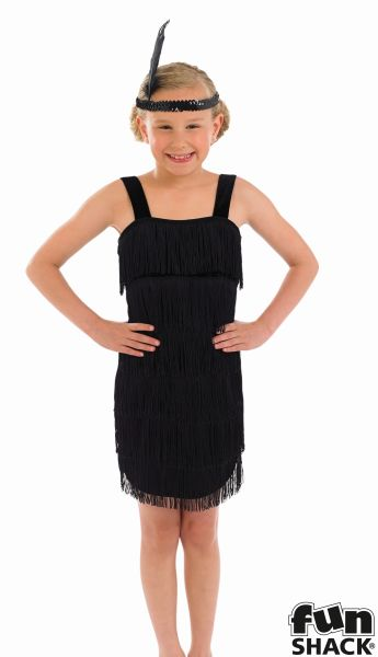Black Flapper Fancy Dress Costume