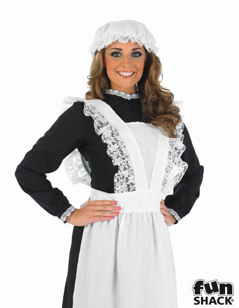 Beautiful Long Victorian Maid Ladies Fancy Dress Costume Party Outfit Size 8-26