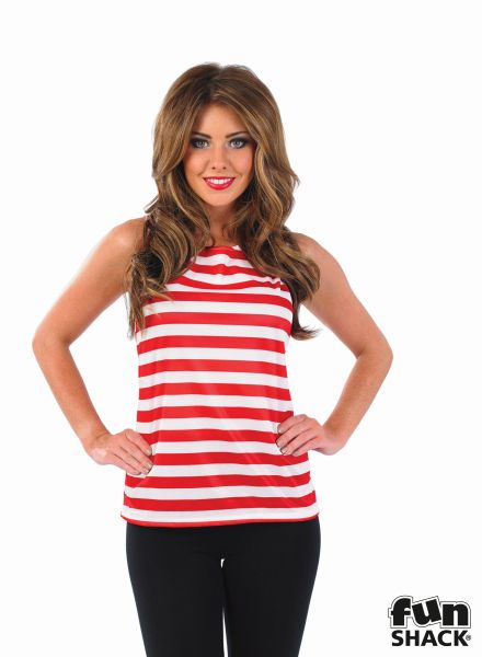 Where's My Red & White Striped Top Costume Ladies Book Week Fancy Dress Outfit