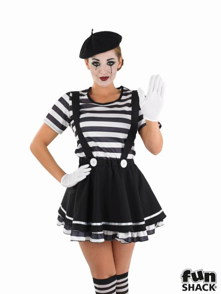Mime Artiste Fancy Dress Costume