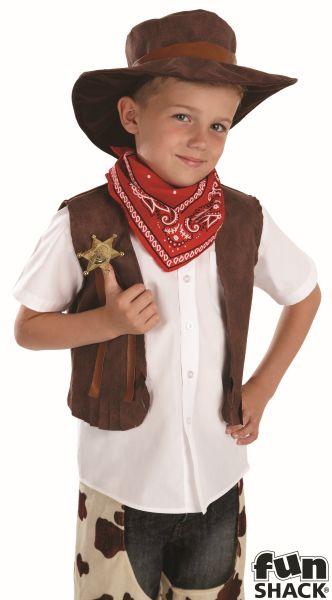 SALE! Kids Wild West Cowboy Boys Book Week Fancy Dress Childs Costume Outfit