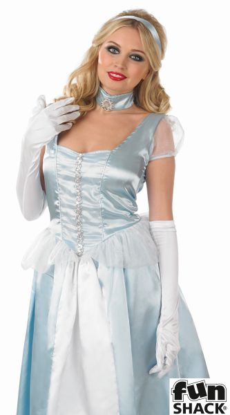 Cinderella Princess Womens Costume Ladies Fancy Dress Outfit Fairytale Story