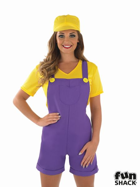 Sexy Yellow Plumbers Mate Ladies Fancy Dress Costume Hen Party Outfit Size 8-22