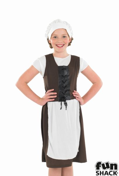 Girls Tudor medieval costume kids school book week fancy dress outfit story chil Thumbnail 1
