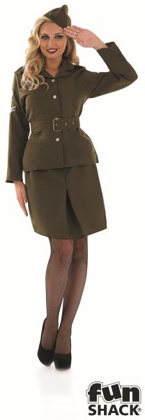1930s-1940s Army Girl Fancy Dress Costume Thumbnail 2