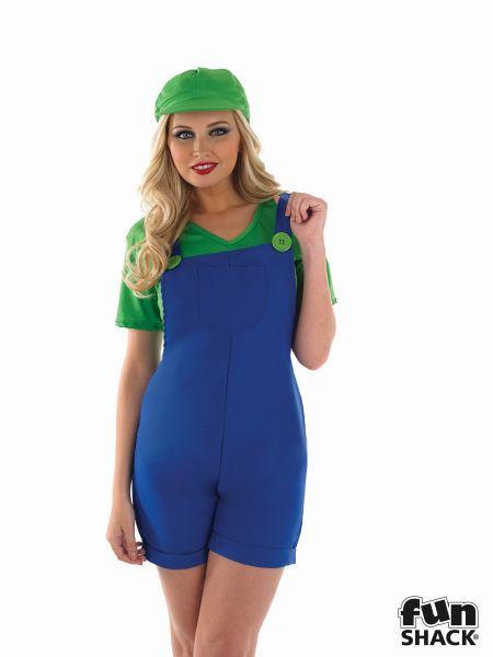 Green Plumbers Mate Girl Fancy Dress Costume Thumbnail 1