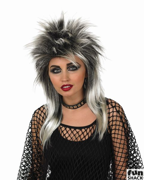 Glam Rock Wig (Silver/Black) Thumbnail 1