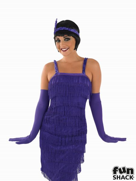 Roaring 20s Girl Fancy Dress Costume Purple  Thumbnail 1