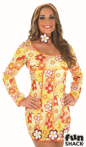 Yellow Hippie Dress Fancy Dress Costume Thumbnail 1