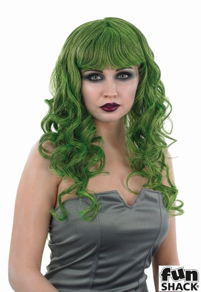 Sexy Green Temptress Witch Wig Ladies Halloween Fancy Dress Costume Accessory Thumbnail 1