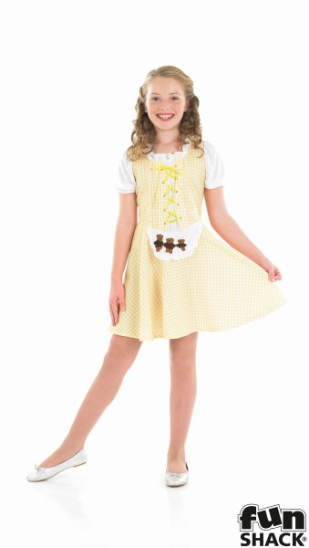 SALE Kids Storybook Goldilocks Girls Book Week Fancy Dress Childs Costume Outfit Thumbnail 2