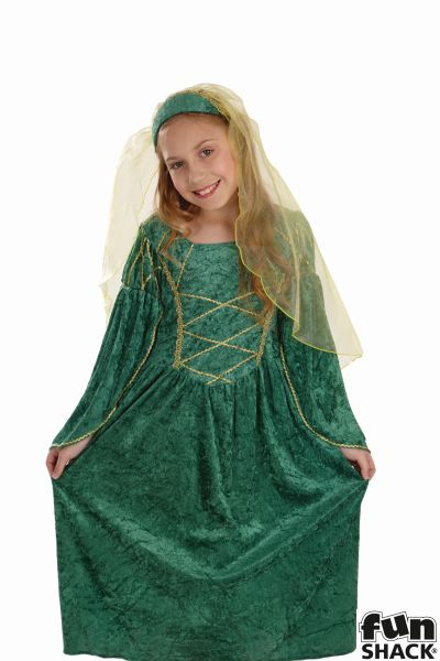 Green Tudor Princess Fancy Dress Costume Thumbnail 1