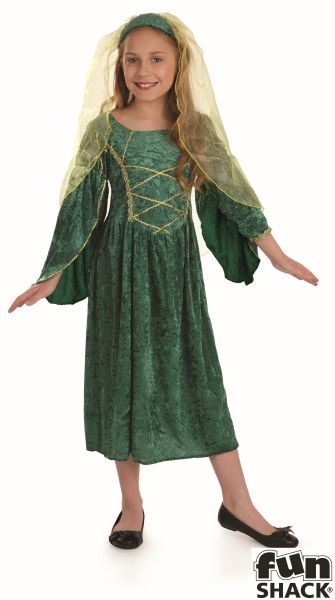 Green Tudor Princess Fancy Dress Costume Thumbnail 2