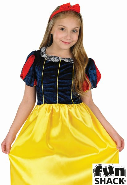 Kids Fairytale Princess Snow White Girls Book Week Fancy Dress Childs Costume Thumbnail 1