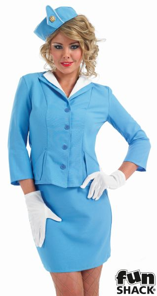 Blue Cabin Crew Fancy Dress Costume Thumbnail 1
