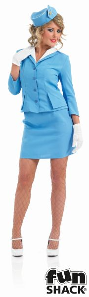 Blue Cabin Crew Fancy Dress Costume Thumbnail 2