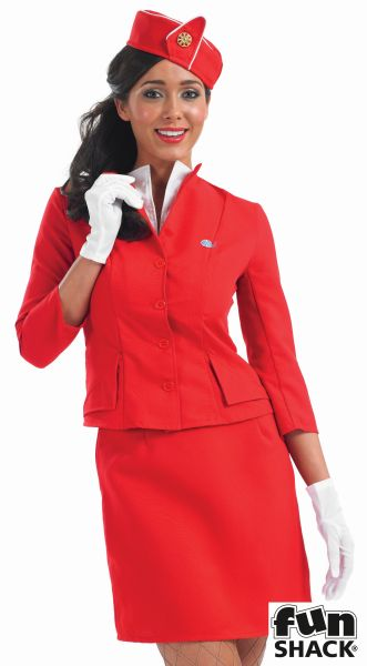 Red Cabin Crew Lady Fancy Dress Costume Thumbnail 1