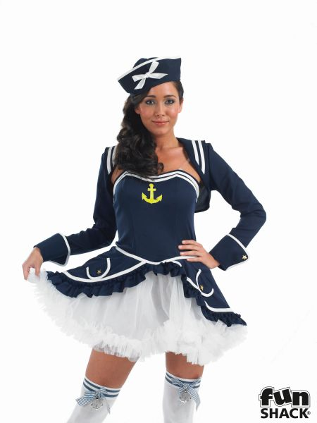 Beautiful Tutu Sailor Ladies Fancy Dress Costume Hen Party Outfit UK Size 8 - 26 Thumbnail 1