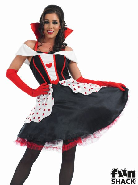 Queen Of Hearts Costume Ladies Wonderland Fairytale Fancy Dress Party Outfit Thumbnail 1