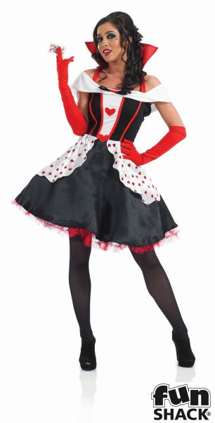 Queen Of Hearts Costume Ladies Wonderland Fairytale Fancy Dress Party Outfit Thumbnail 2