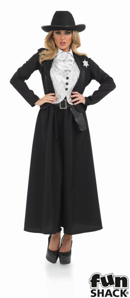 Women's Old Time Female Sherif Fancy Dress Costume Thumbnail 2