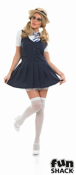 Sexy School Girl Tutu Ladies Fancy Dress Costume Hen Party Outfit UK Size 8 - 26 Thumbnail 2