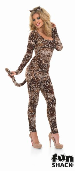 Sexy Cougar Catsuit Ladies Fancy Dress Costume Hen Party Outfit UK Sizes 8 - 30 Thumbnail 2