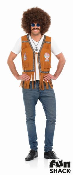 Hippie Fringed  Waistcoat Fancy Dress Thumbnail 2