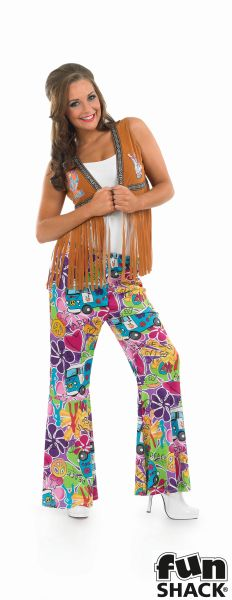 Adult 60s 70s Flower Power Hippie Waistcoat Ladies Fancy Dress Costume Accessory Thumbnail 2