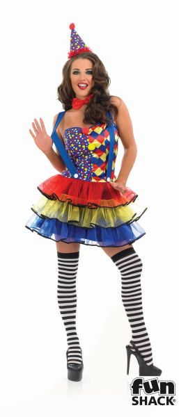 Deluxe Sexy Cutie Clown Ladies Fancy Dress Costume Party Outfit Plus Size 8-30  Thumbnail 2