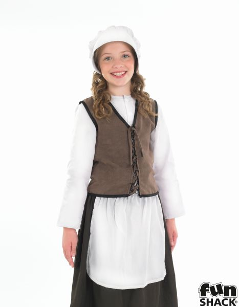 Girls Book Week Historical Tudor Kitchen Girl Costume Kids Fancy Dress Outfit Thumbnail 1