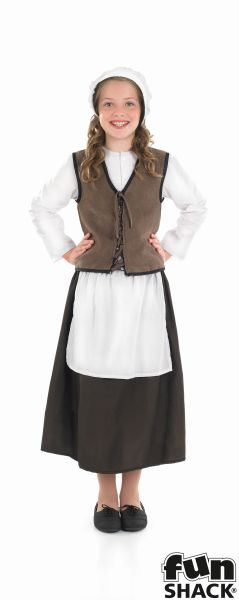 Girls Book Week Historical Tudor Kitchen Girl Costume Kids Fancy Dress Outfit Thumbnail 2