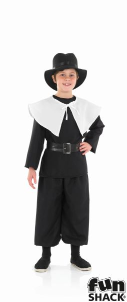 Kids Pilgrim Puritan Amish Boys Book Week Fancy Dress Childs Costume Outfit Thumbnail 2