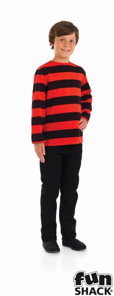 Kids Little Menace Red & Black Striped Top Boys Book Week Fancy Dress Costume Thumbnail 2