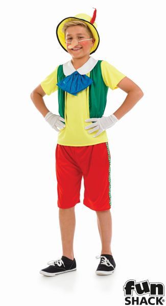 Kids Fairy Tale Pinocchio Puppet Boys Book Week Fancy Dress ChildsCostume Outfit Thumbnail 2
