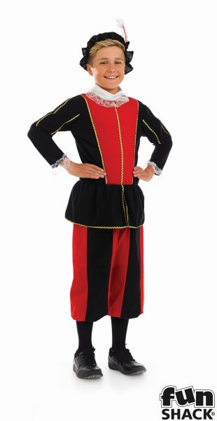 Kids Medieval Tudor Prince Boys Book Week  Fancy Dress Childs Costume Outfit Thumbnail 2