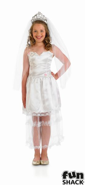 SALE! Kids Princess Bride Girls Wedding Day Fancy Dress Childs Costume Outfit Thumbnail 2