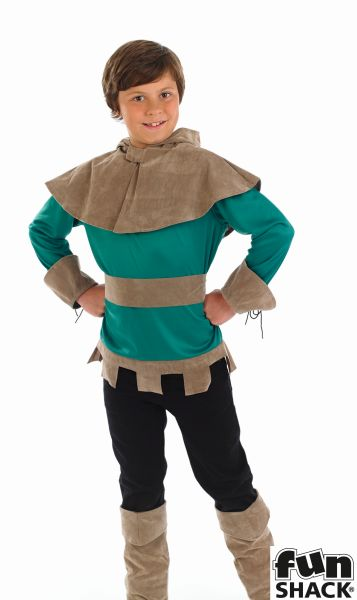 Boy's Robin Hood Costume Kids Medieval School Book Week Fancy Dress Story Outfit Thumbnail 1