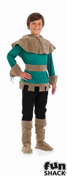 Boy's Robin Hood Costume Kids Medieval School Book Week Fancy Dress Story Outfit Thumbnail 2