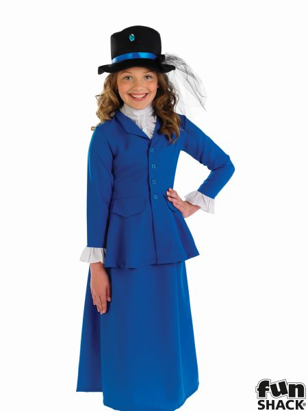 Girls victorian costume kids school book week fancy dress childs outfit mary Thumbnail 1