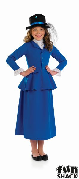 Girls victorian costume kids school book week fancy dress childs outfit mary Thumbnail 2