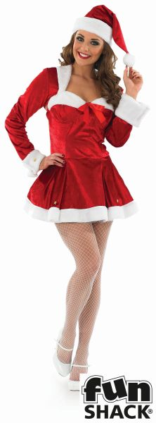 Sexy Miss Santa Ladies Christmas Party Fancy Dress Costume Outfit UK Size 8 - 22 Thumbnail 2