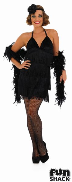 Sexy Black Flapper Fancy Dress Costume Thumbnail 2