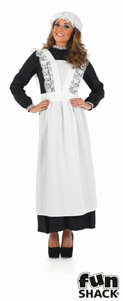 Beautiful Long Victorian Maid Ladies Fancy Dress Costume Party Outfit Size 8-26 Thumbnail 2