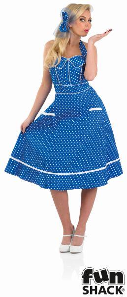 50s Blue Dress Fancy Dress Costume Thumbnail 2
