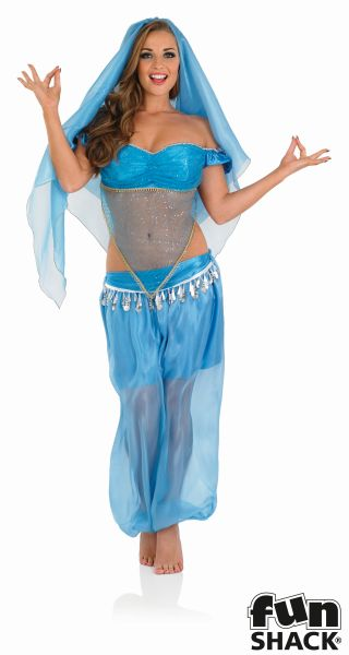 Princess Jasmine Costume Ladies Aladdin Belly Dancer Genie Fancy Dress Hen Night Thumbnail 2